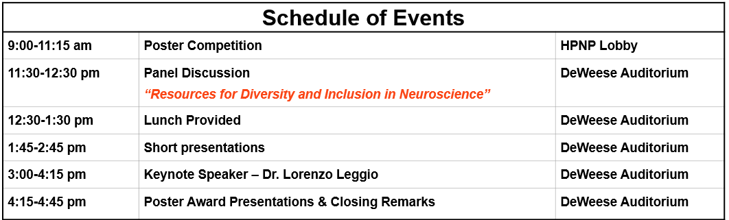2019 SfN Conference Schedule