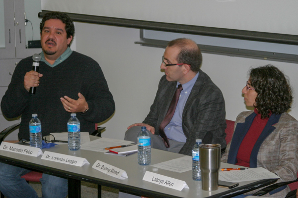 Dr. Marcelo Febo speaks during the panel discussion.