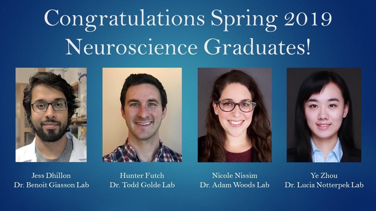 Congratulations Spring 2019 Neuroscience Graduates