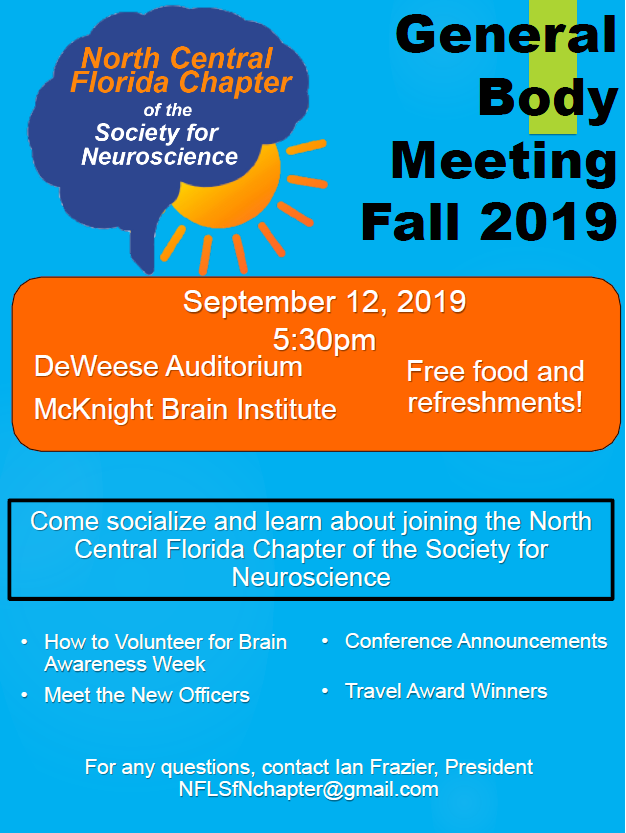 SfN 2019 Fall General Body Meeting Flyer