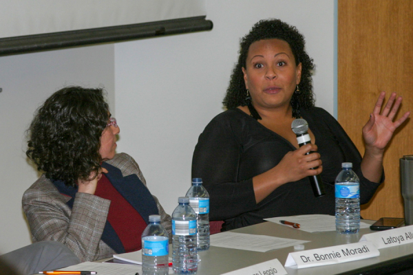 Latoya Allen discusses her experiences during the panel discussion.