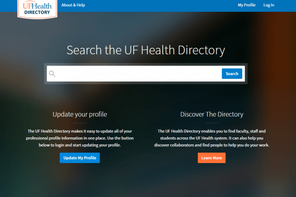Front page of UF Health directory