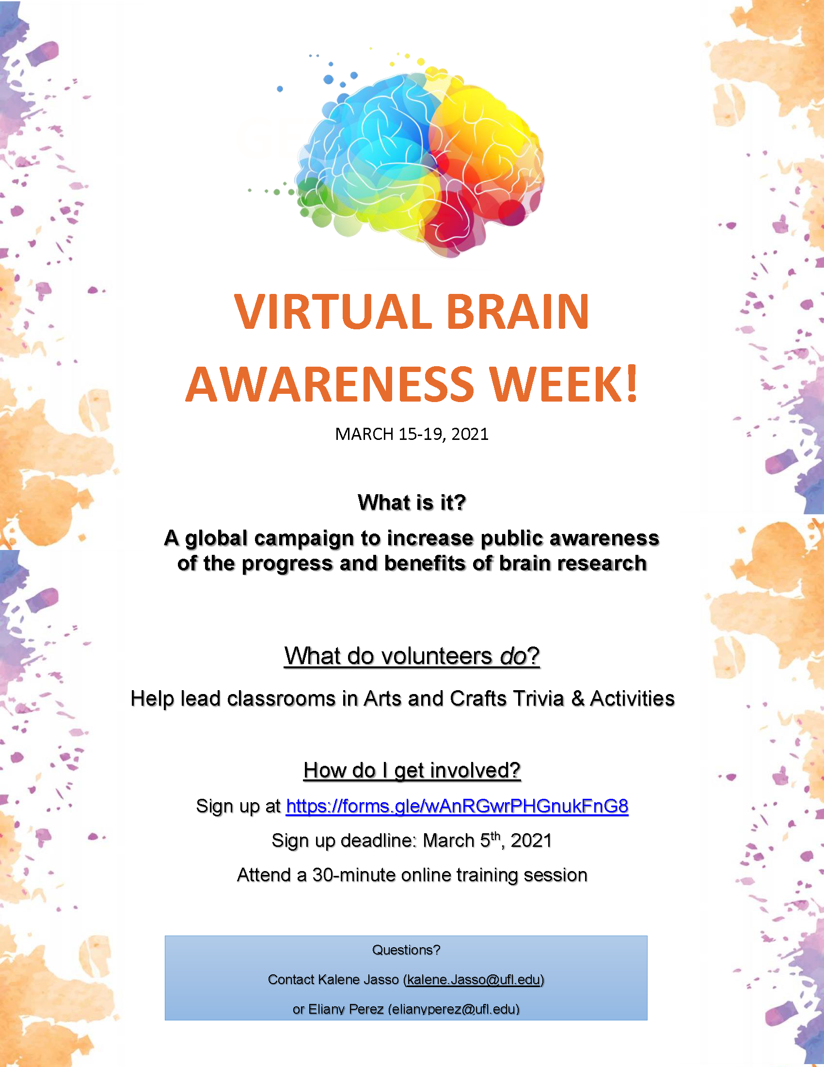 Volunteer for Brain awareness week! Click the link below to sign up.